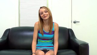 Pretty Teen Sitting On A Casting And Waiting For Action.
