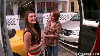 Abby Cross And Nickey Huntsman Ride In Bang Bus
