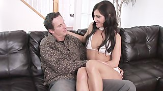 Black Haired Babe Gets Gangbanged