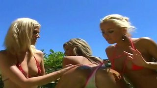 Three Stunning Blondes Kendall Brooks, Nikki And Taylor In The Hot Sunbathing Scene