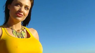 Beautiful, Long Legged And Busty Brunette Model Aletta Ocean Sucking At The Beach