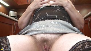 Old Blonde Masturbates In The Kitchen