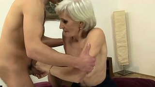 Young Horny Stud Is Licking Sweet Granny Viviana's Hairy Bush Hungrily