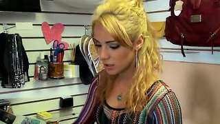 The Attractive Blonde Pornstar Eve Evans Demonstrates Her Appetizing Ass To The Jmac In A Shop