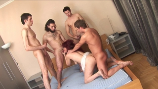 Russian Mature Janna Gangbang Part 1