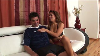The Wonderful Busty Brunette Sienna West Makes The Seductive Blowjob To Her Lover Sergio