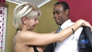 Blonde Mature Craves For A Black Meat