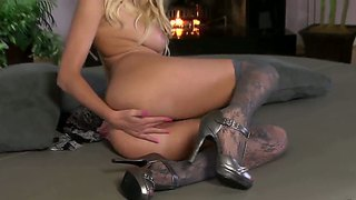 Exciting Blonde Casey James In Ultra Sexy Stockings Making Her Pussy Crying With Pussy Juice