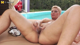 Tattooed Blonde Mature Slut Mom Playing Alone