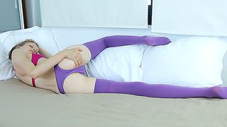 Teeny Gloria In Purple Stockings And Thongs