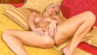 Sexy Blond Ambra Rubbing Down Her Tight Cunt Until She Cums