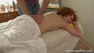 Redhead Sucks Balls During Massage Session