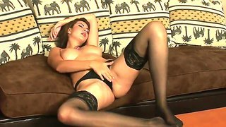 naughty brunette with smoking hot body gets piss and sperm