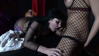 Fucking Stunning Transsexual Whore And Her Slave That Loves To Suck Cocks!