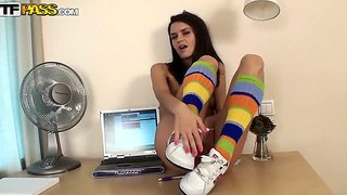 Teen Dasha In Innocent-Looking Socks Masturbates On The Computer Table