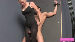 Bondage Handjob In Leotard Tights And Heels Ballbusting