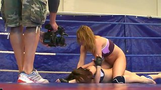 Backstage Movie With Lesbian Fighters Kitty Cat And Madlin Licking Pussies On The Ring