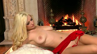 Red Busty Blonde In A Delight Masturbation.