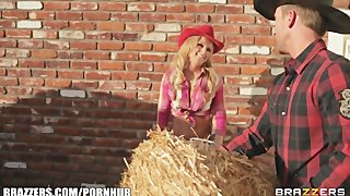 Busty Blonde Cowgirl Melissa Matthews Goes For A Roll In The Hay