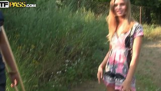 Molly Demonstrates Her Awesome Young Body Outdoors And Plays In Adult Games