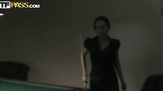 Amateur Seductive Brunette Natasha In Black Dress Has Fun With Long Haired Stud At The Pool Table