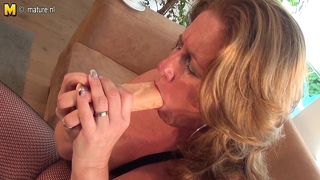Dirty Mother Playing With Her Big Dildo