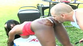 Outdoor Interracial Action With Amateur Bitch Diamond Jackson And Josh