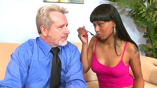 Naughty Black Chick Pleasing A Lucky Old Man