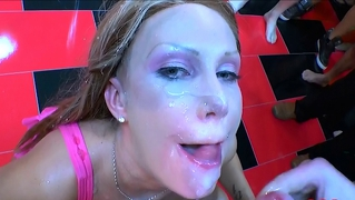 German Bukkake Beauty Gets Facials