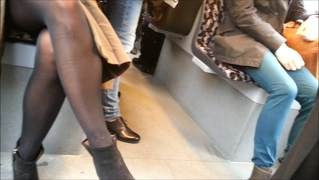 Beautiful Candid Legs In Black Pantyhose