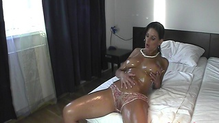 big oiled tits anita queen getting slicky with oiled pussy and big boobs orgasms sensual oil massage oiled up brunette fishnet stocking masturbation