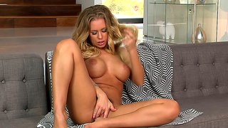 Busty Blonde Nicole Aniston Masturbates With Class
