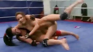 Hot Wild Brunettes Wrestling