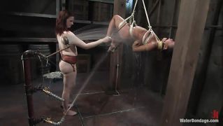Asian Bitch Tied, Hanged And Showered Before Next Stage