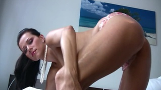 Katie Rubbing Oil Over Her Pussy Tits And Clit!