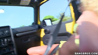 Big Tit Blonde Darling Riley Evans In The Jeep