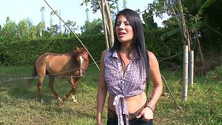 Hot Ass Black Haired Latina Juliana With Big Juicy Hooters In Tight Jeans Gets Nauthgy By The Swimming Pool