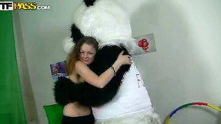 Anja Is Fucking In Her Mouth With Hardcore Dick Of Panda