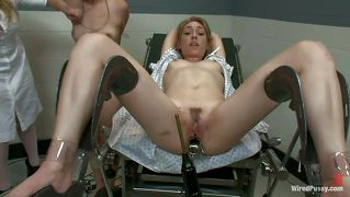 Intense Treatment On The Gynecologist Table For A Pretty Whore