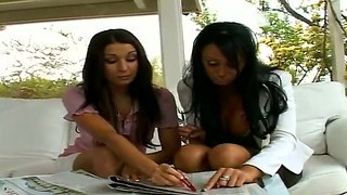 Hailey Star And Her Lesbian Gal Friend Reading Magazine And Then Kissing In Public.