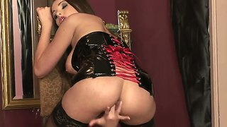 Glamorous Brunette Zara Plays With Glass Dildo