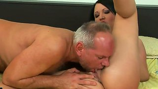 Gorgeous Brunette Chanel Gets An Amazing Cunnilingus From Her Old Fucker