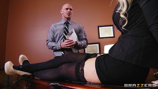 Busty Blonde Milf Offers Her Intern A Job If He Can Fuck Her