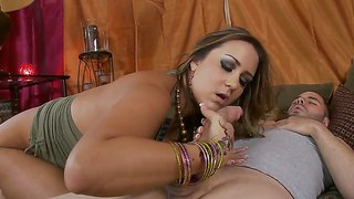 Long Dicked Dude Ralph Long Is Lying On His Back And Enjoying Hot Chick Trina Michaels Pleasing Him With Blowjob.