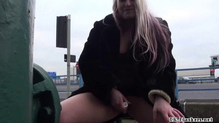 Public Toying And Dildo Masturbation Of Blonde Kaz B