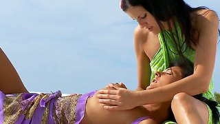 Two Horny Lesbians Are Having Fun At The Beach!