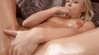 Cute Oiled Teen Masturbating