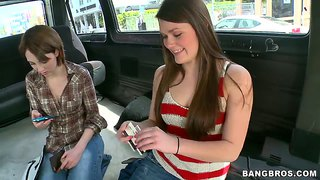 Abby Cross And Nickey Huntsman Riding On The Bangbus