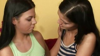 Cute Brunette Lesbians Kissing And Toying Pussy And Having Lesbian Sex