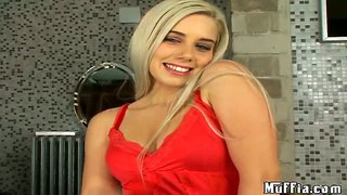 Cheeky Blonde Nesty Tugs Tony With Her Feet